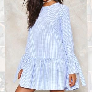Nastygal Blue Gingham Summer Dress